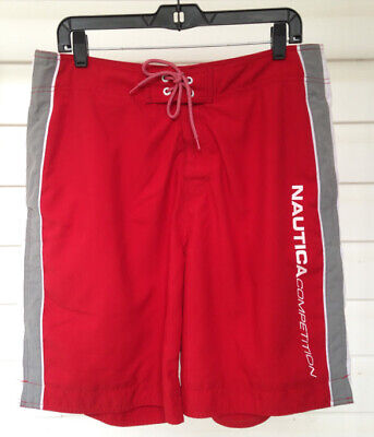 ☀️VTG NAUTICA COMPETITION Board Shorts Swim Trunks Mesh-Lined Red • Men's 34