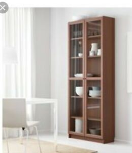 Ikea Billy Wood Veneer Beach Glass Door Bookcase