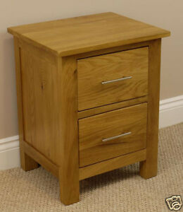 OAKLAND - SOLID CHUNKY OAK BEDSIDE CABINET / 2 DRAWER LAMP TABLE UNIT / CHEST
