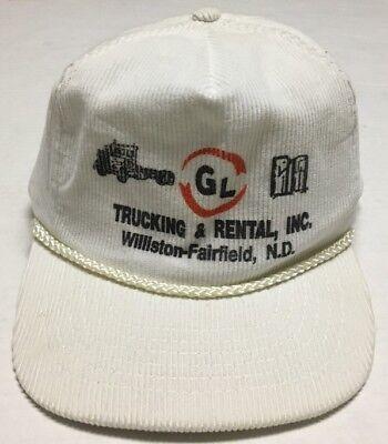 Vtg GL Trucking Rental Hat Williston Fairfield North Dakota Cap Transportation