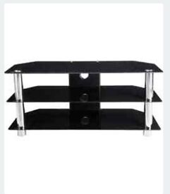 Black glass and chrome TV stand / unit 3 tier