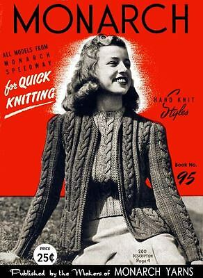 Monarch #95 c.1946 Stylish Vintage Knitting Patterns For Women's 40's Fashions
