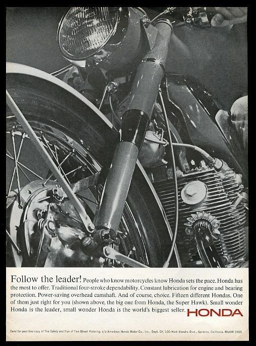 1965 Honda Super Hawk motorcycle photo vintage print ad