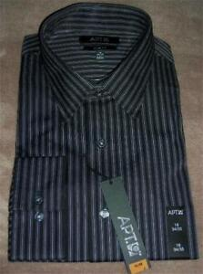 Apt 9 Mens Slim Fit Black Striped Spread Collar Dress