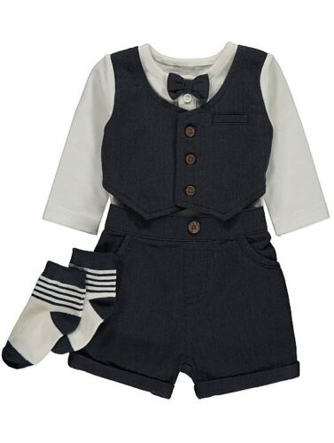 Baby Boys Formal Waistcoat Suit Outfit Wedding  Christening Bow Tie Tux Tweed