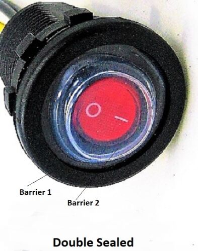 Double Sealed Waterproof Red LED Rocker 12V Toggle Switch SPST Boat Round IP66