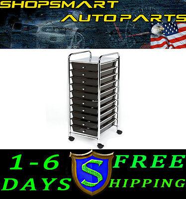 10 Drawer Organizer Cart Black Paper Rolling Scrapbook Storage Caster Supplies