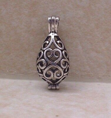 Antique Silver Filigree Teardrop Cage Locket - Pendant Wish Prayer Box -