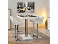 Bar table and 4 white leather stools