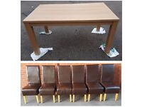 Brand New Oak Effect Dining Table & 6 Brown High Back Faux Leather Chairs FREE DELIVERY 685