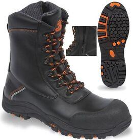 Brand new V12 Vtech E1300 Defiant Black High Leg Zip Side Safety Boot (size 10 / 44)
