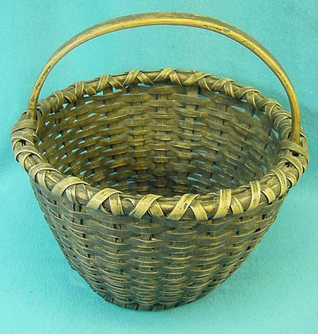 M-85 Antique Primitive splint  gathering basket of tightly woven Ash?.