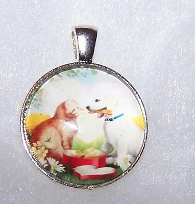 "Silver 20"" Necklace women men Pendant key CAT DOG PET PUPPY KITTY Free $10 GIFT"