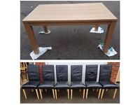 Brand New Oak Effect Dining Table & 6 Black REAL Leather Chairs Oak Legs FREE DELIVERY 687
