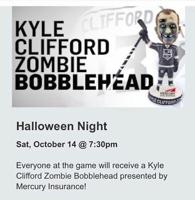 Kyle Clifford  Zombie  Halloween La Kings Bobblehead  Sga 10 14 17 New In Box