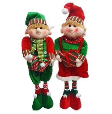 Elf Christmas Decorations (Starmo Elf Extendable Legs Christmas Decorations Approx 42 - 65cm Green &)