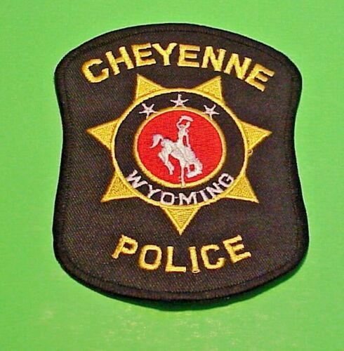 """CHEYENNE WYOMING  WY  ( BLACK BORDER / GOLD LETTERS )  4 1/2"""" POLICE PATCH"""