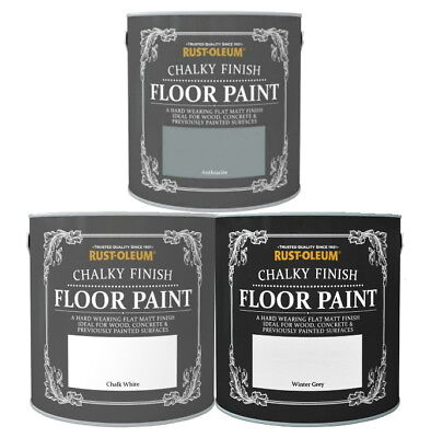 Rust-Oleum Chalky Chalk Floor Paint Wood Concrete White Grey Shabby Chic 2.5L