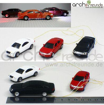 3 x Modell Autos LED beleuchtet Modellbau 1:75 Modelleisenbahn Spur 00