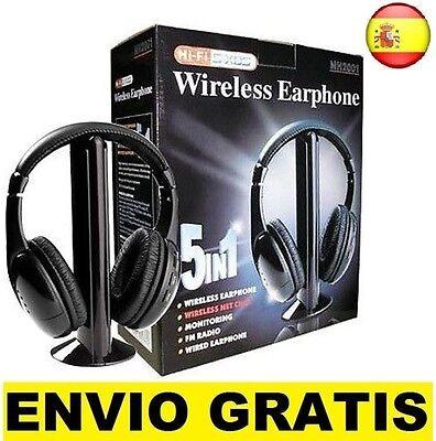 Cascos auriculares inalambricos con radio fm 5 en 1 para tv pc...