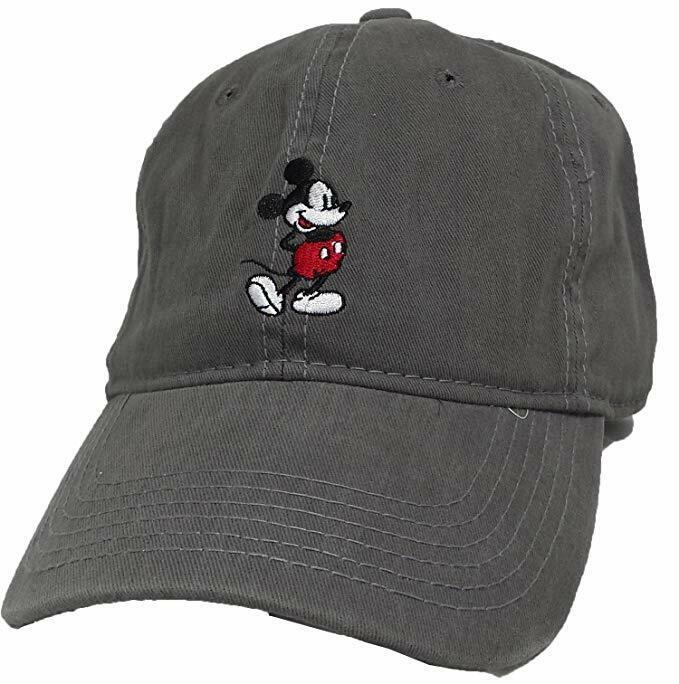 Disney Men's Mickey Brush Washed Twill Baseball Cap, Grey, O