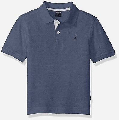 NWT NAUTICA Toddler Boys Woven Short Sleeve Polo Shirt Port Ottoman Ink Blue 3T