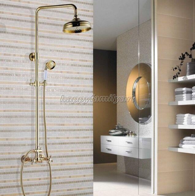 Gold Color Brass Wall Mount Bathroom Rain Shower Faucet Set Mixer Tap ygf331