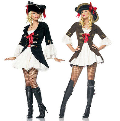 Adult Pirate Lady Womens Fancy Dress Costume Ladies Caribbean High Seas Wench UK