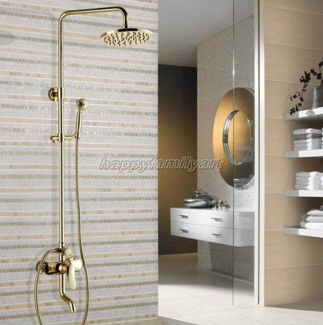 Wall Mounted Gold Color Brass 8 inch Shower Head Rain Shower Faucet Set ygf302