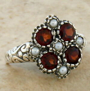 NATURAL-GARNET-SEED-PEARL-ANTIQUE-STYLE-925-STERLING-SILVER-RING-Sz-10-168