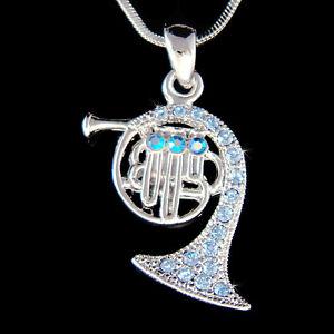 w Swarovski Crystal Brass Blue FRENCH HORN trumpet cornet charm Necklace Jewelry