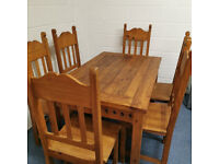 Designer Pine Table & 6 Chairs