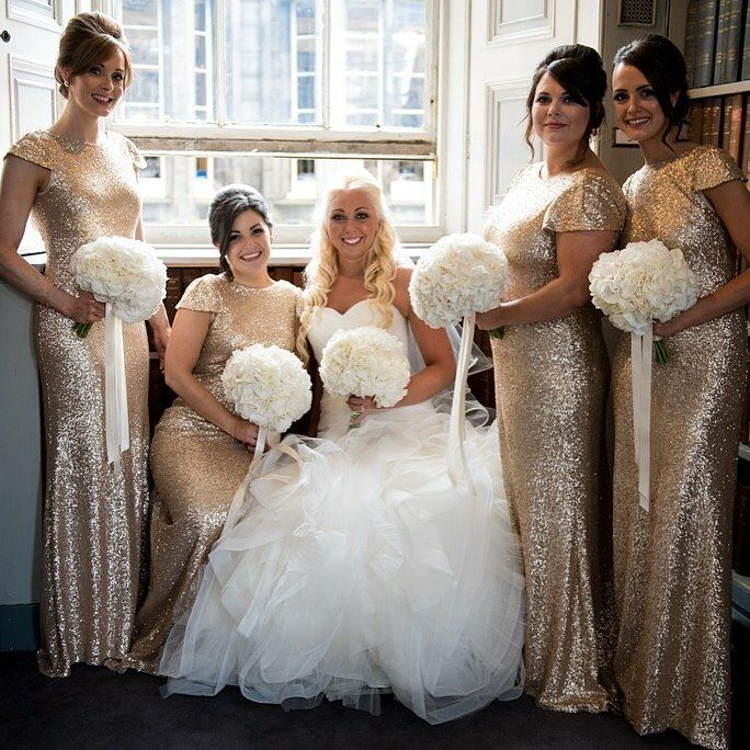 Sorella Vita Style 8718 Gold Sequin Bridesmaids Dresses X 2