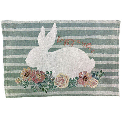 Windham Weavers Easter Bunny Floral Tapestry Placemat 2 Pk