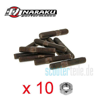 NARAKU Auspuff Stehbolzen Set 10 Stück M6 + 10x Mutter Scooter Roller Quad 50ccm