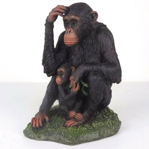 "Chimpanzee & Baby - Detailed Figurine Miniature 7.25""H New in Box"