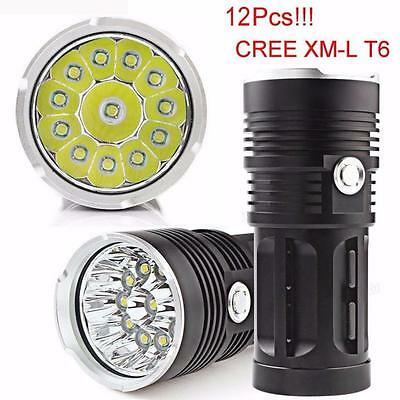 US POSTAL 30000LM 12 LED CREE XM-L Torch Flashlight 4x 18650 Hunting Light Lamp