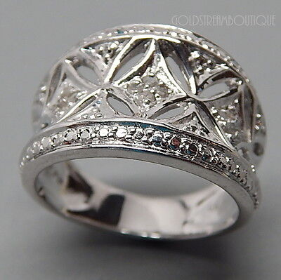 AMAZING GENUINE DIAMOND FLORAL ORNATE WIDE CONCAVE 925 SILVER WEDDING BAND RING (Diamond Floral Band Ring)