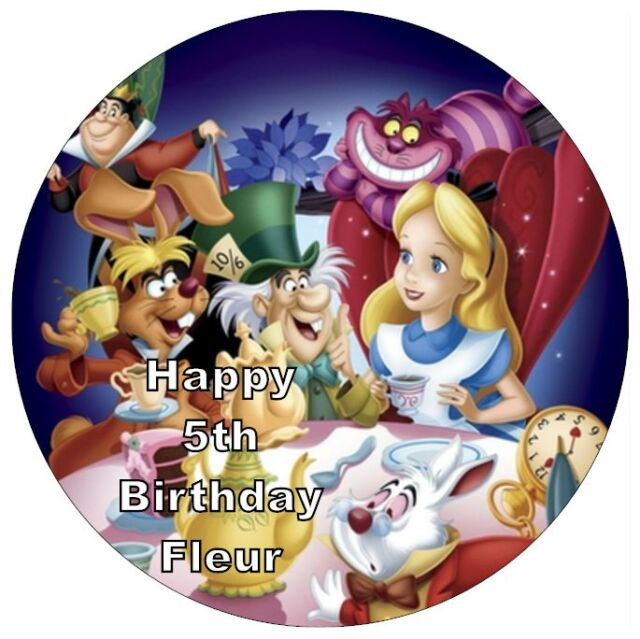 """Alice In Wonderland Personalised Cake Topper Edible Wafer Paper 7.5"""""""