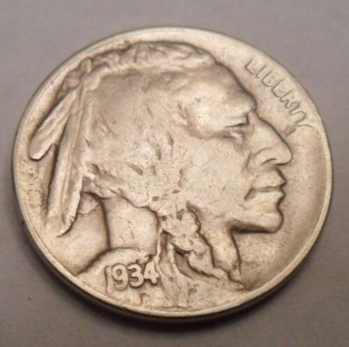 "1934 P INDIAN HEAD ""BUFFALO"" NICKEL  *AG OR BETTER*   **FREE SHIPPING**"