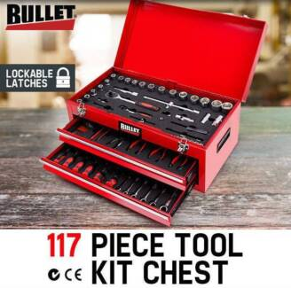 117 Piece Metric Tool Kit Chest Box Home Mechanic DIY Tool Set