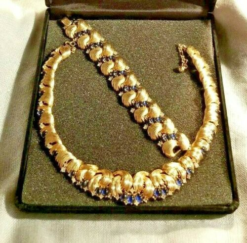 Designer Marcel Boucher Deep Blue & Rhinestone Necklace & Bracelet Signed Set