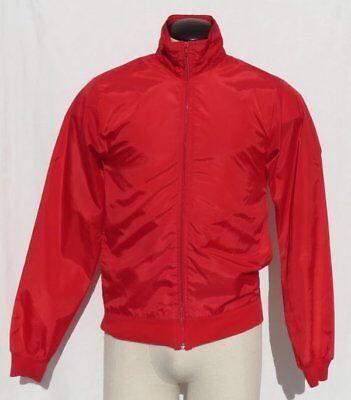 AMERICAN APPAREL Men's Red Lightweight Nylon Taffeta Zip Jacket Top size S EUC ()