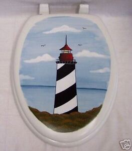 HP-TOILET-SEAT-LIGHTHOUSE-NAUTICAL-ELONGATED-NEW-BY-MY