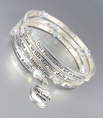Inspirational Silver Twist Wire Wrap The LORD'S PRAYER Crystals Charms Bracelet