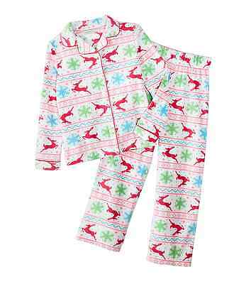 NWT ☀FLEECE☀ KOMAR KIDS Girls New Pajamas REINDEER FAIR ISLE  Christmas 7/8    - Kids Reindeer Pajamas