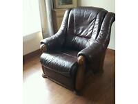 Electric recliner leather and oak chair