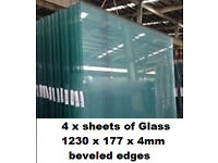 4 x sheets / pains of glass, Toughened 1230mm x1770mm 4mm