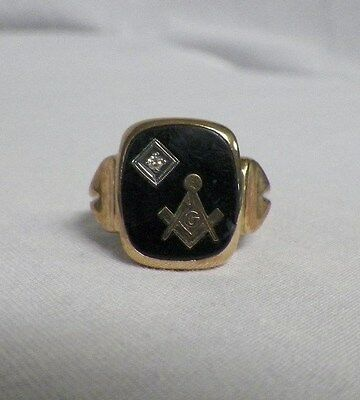 10K Yellow Gold Masonic Diamond Ring Mason Compass Size 10 Black