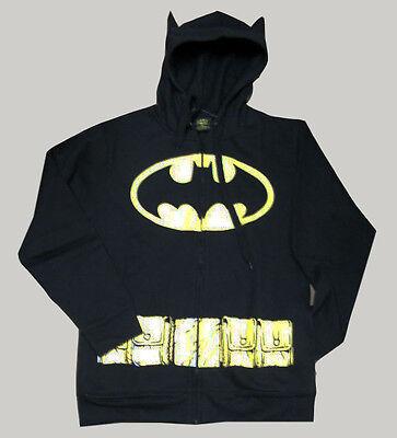 NEW DC Comics BATMAN Zipup HOODY Hoodie SWEATSHIRT with Ears COSTUME - - Batman Hoodie With Ears